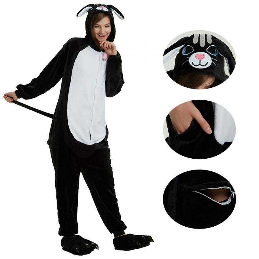 Black Cat Kigurumi Animal Onesie Pajama Costumes for Adult