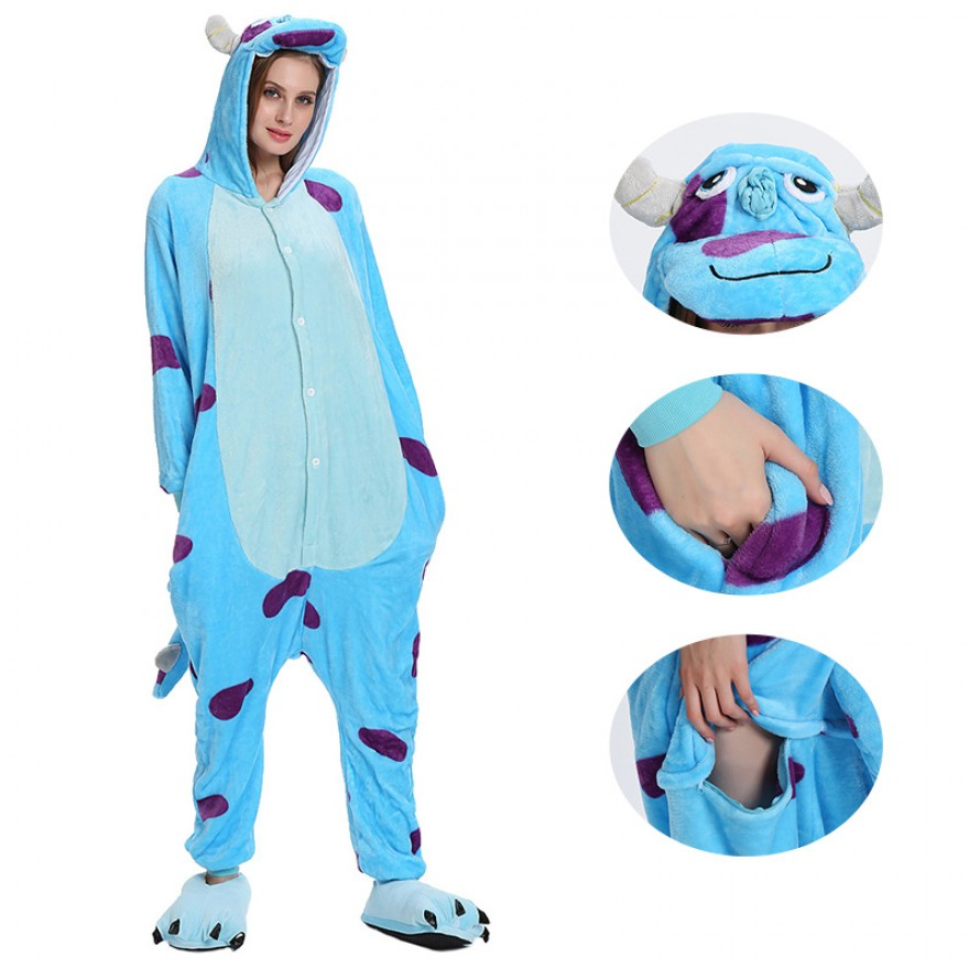 Blue Bull Kigurumi Animal Onesie Pajama Costumes for Adult
