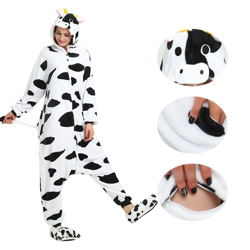 Cow Kigurumi Animal Onesie Pajama Costumes for Adult