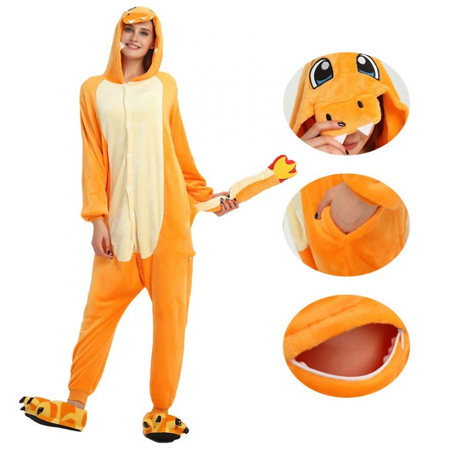 Fire Dragon Kigurumi Animal Onesie Pajama Costumes for Adult