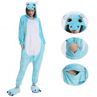 Blue Hippo Kigurumi Animal Onesie Pajama Costumes for Adult
