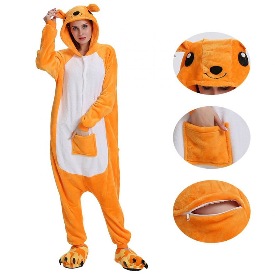 Kangaroo Kigurumi Animal Onesie Pajama Costumes for Adult