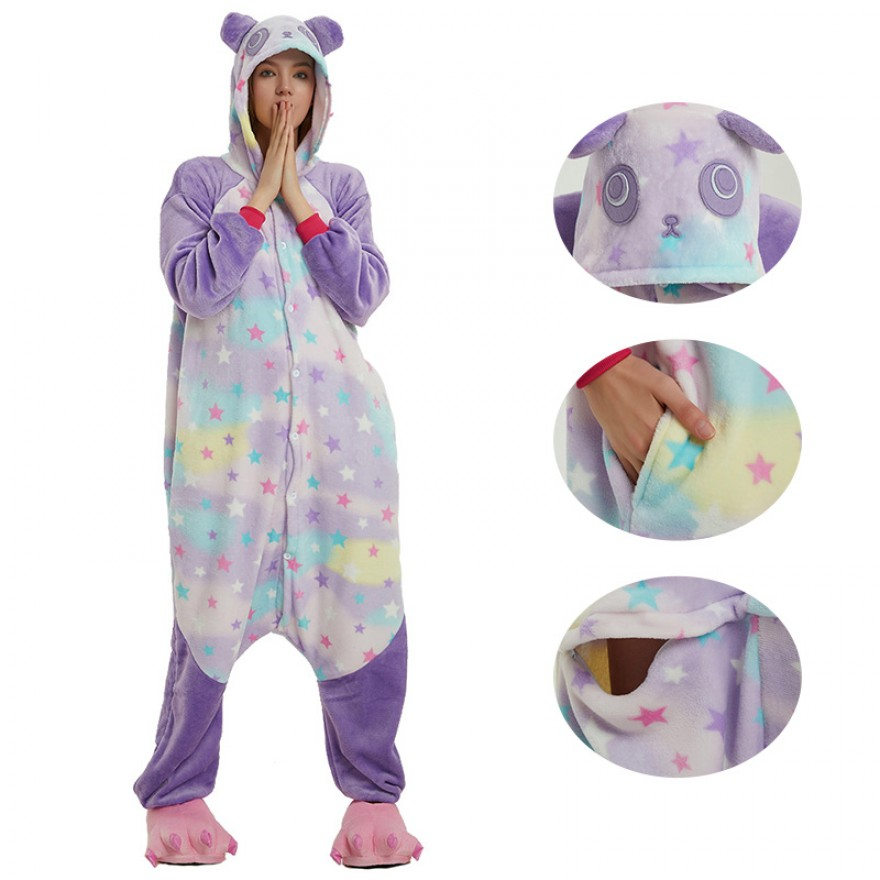 Star Kung Fu Panda Kigurumi Animal Onesie Pajama Costumes for Adult