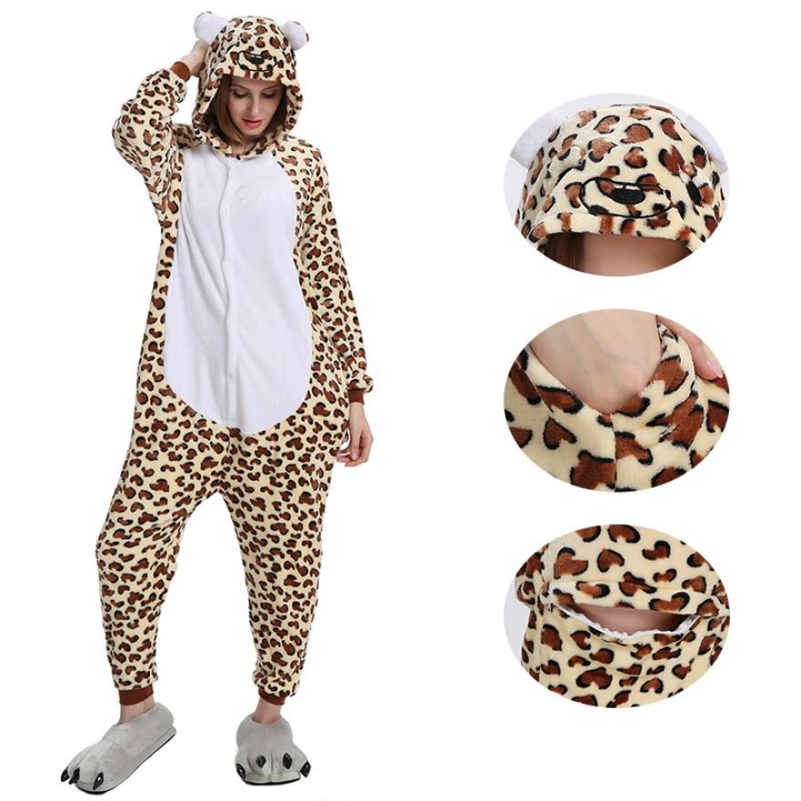 Leopard Bear Kigurumi Animal Onesie Pajama Costumes for Adult