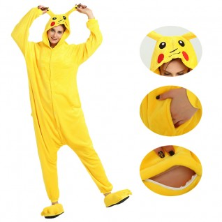 Pikachu Kigurumi Animal Onesie Pajama Costumes for Adult