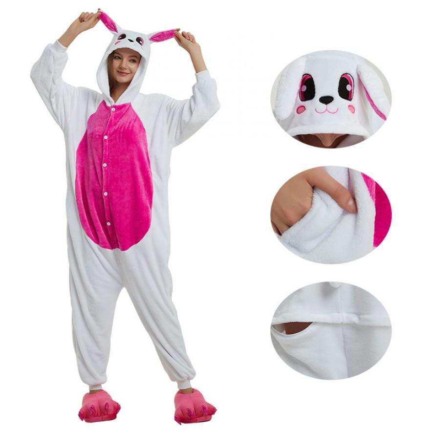Rose Red Rabbit Kigurumi Animal Onesie Pajama Costumes for Adult