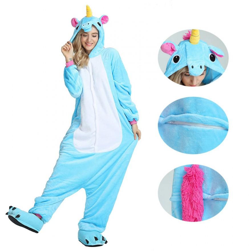 Unicorn Blue Kigurumi Animal Onesie Pajama Costumes for Adult