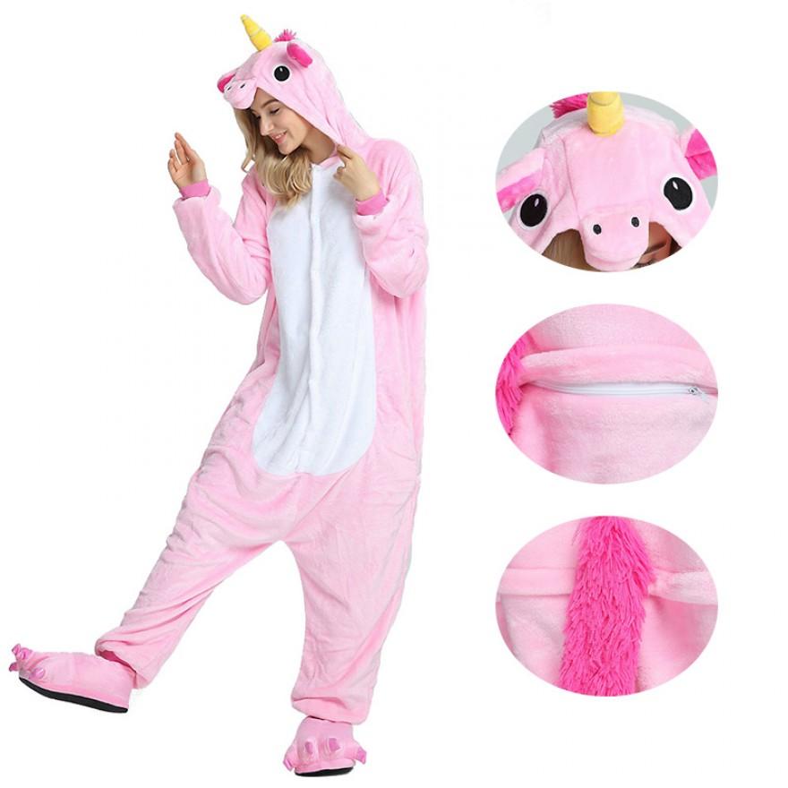 Unicorn Pink Kigurumi Animal Onesie Pajama Costumes for Adult