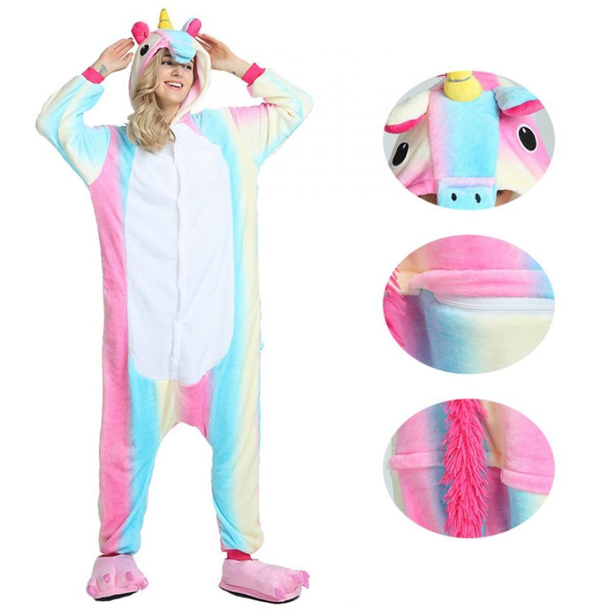 Rainbow Unicorn Kigurumi Animal Onesie Pajama Costumes for Adult