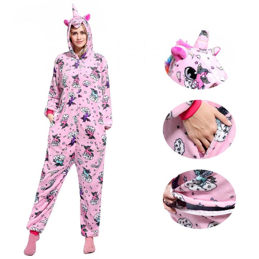 Pink Zipper Unicorn Onesie Pajamas Animal Onesies for Adult