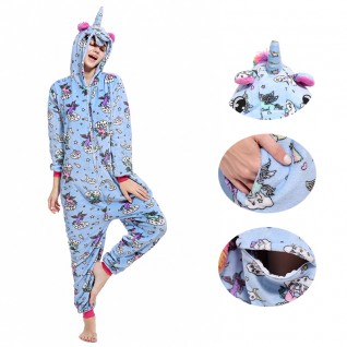 Blue Zipper Unicorn Kigurumi