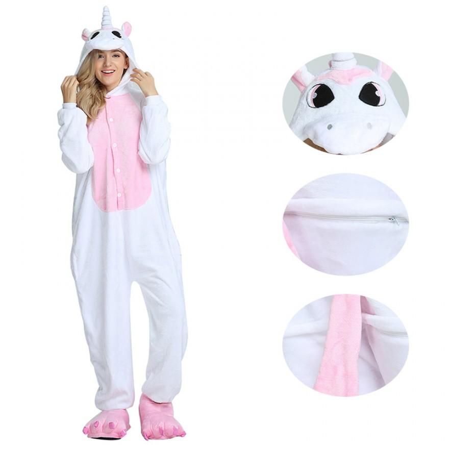 Pink Unicorn Kigurumi Animal Onesie Pajama Costumes for Adult