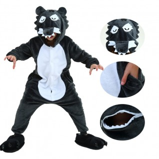 Kids Timber Wolf Kigurumi