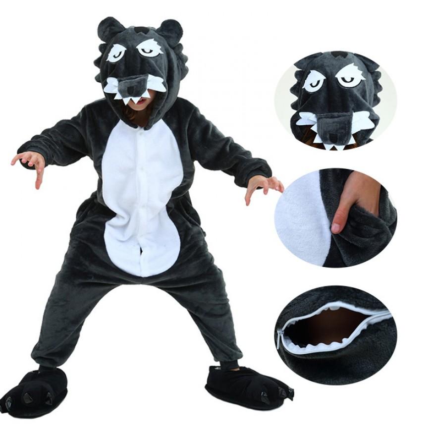 Kids Timber Wolf Onesie Pajamas Animal Kigurumi Costumes Kids Onesie