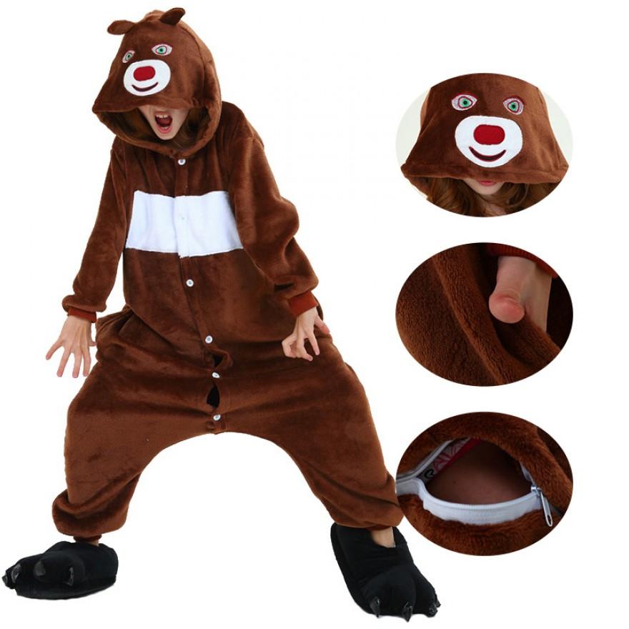 Kids Boonie Bears Kigurumi Animal Onesies Pajamas