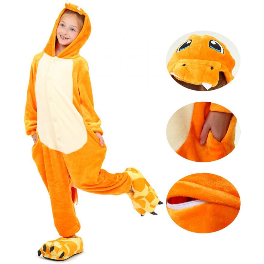 Kids Fire Dragon Kigurumi Animal Onesies Pajamas