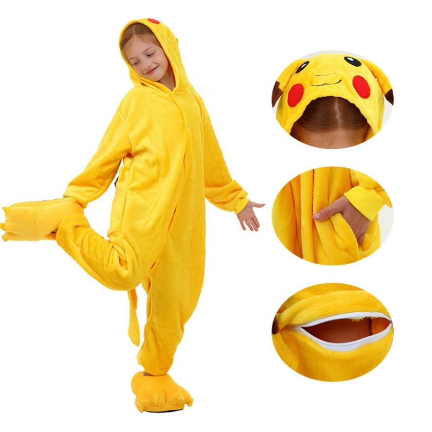 Kids Pikachu Kigurumi Animal Onesies Pajamas