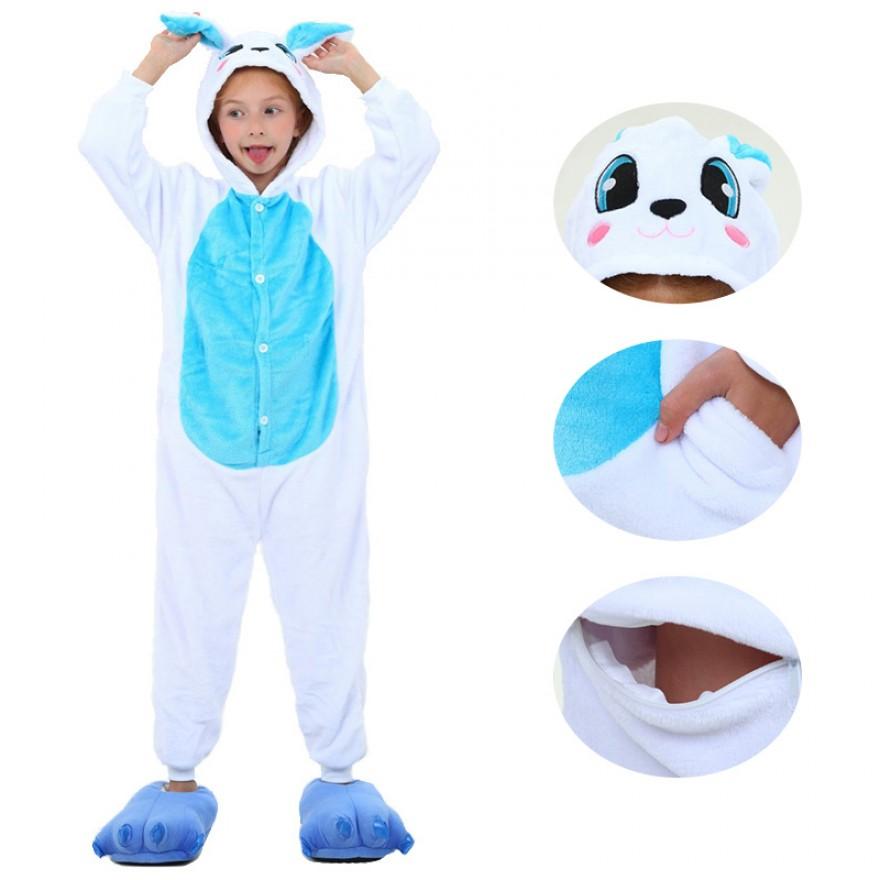 Kids Blue Rabbit Kigurumi Animal Onesies Pajamas