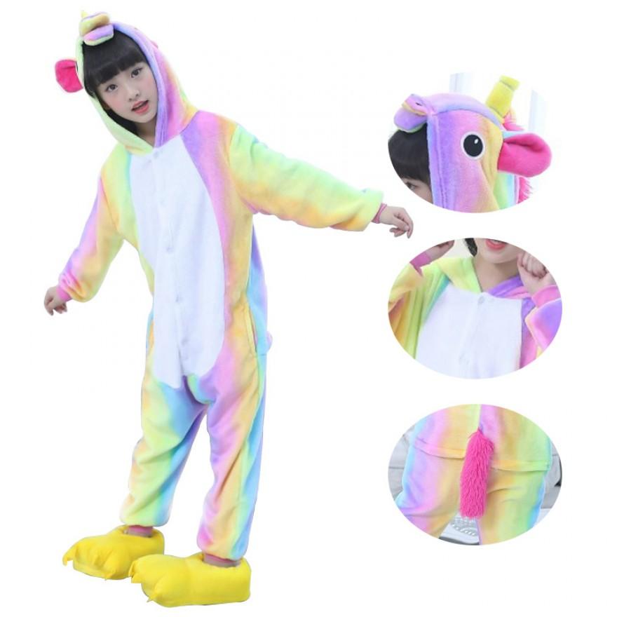 Kids Colorful Unicorn Kigurumi Animal Onesies Pajamas