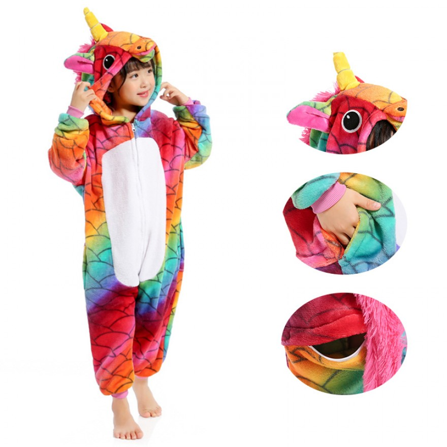 Kids Fish Scale Unicorn Kigurumi