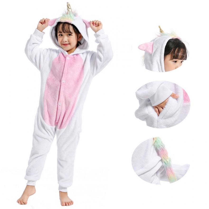 Kids Golden Horn Unicorn Kigurumi Animal Onesies Pajamas