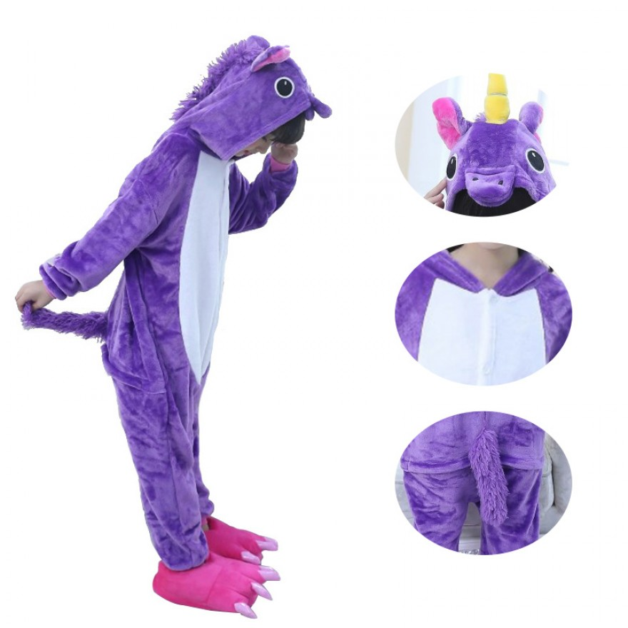 Kids Purple Unicorn Kigurumi