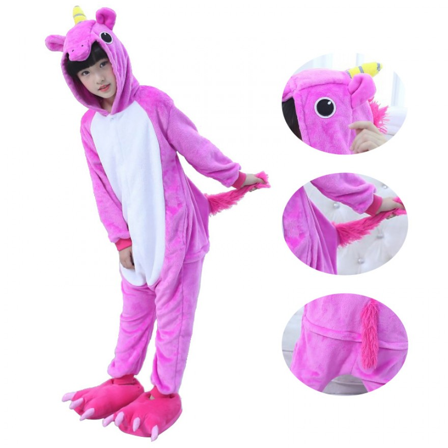 Kids Unicorn Rose Red Kigurumi