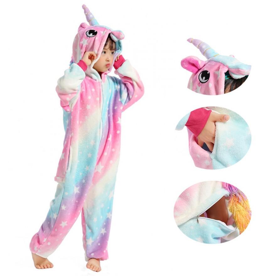 Kids Starry Sky Unicorn Animal Kigurumi Kids Onesies Pajamas