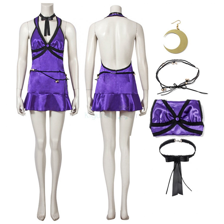 Tifa Lockhart Purple Dress Final Fantasy VII Remake Cosplay Costume
