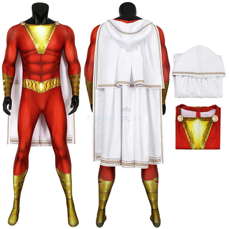 Shazam Jumpsuit Billy Batson Cosplay Costume