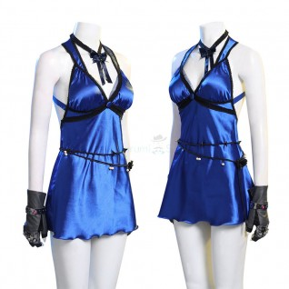 Final Fantasy VII Remake Cosplay Costume Tifa Lockhart Blue Dress