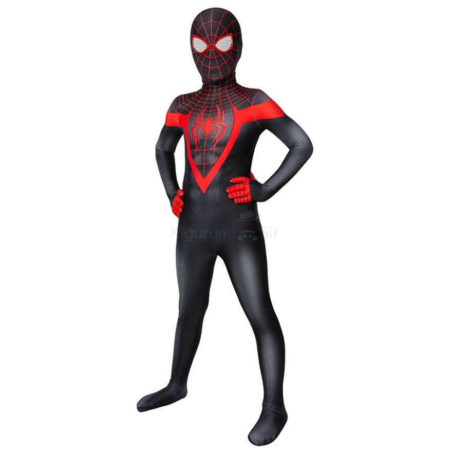 Spider-Man Into the Spider-Verse Miles Morales Cosplay Costume Spiderman Jumpsuit
