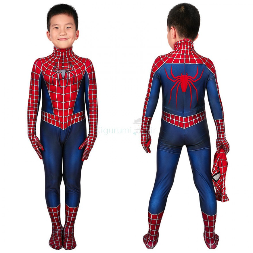 Kids Tobey Maguire Jumpsuit Spider Man Cosplay Costume