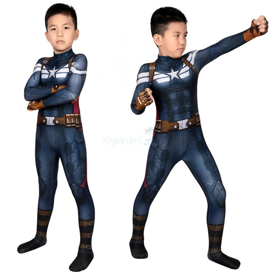 Captain America The Winter Soldier Steve Rogers Cosplay Costume for Kids