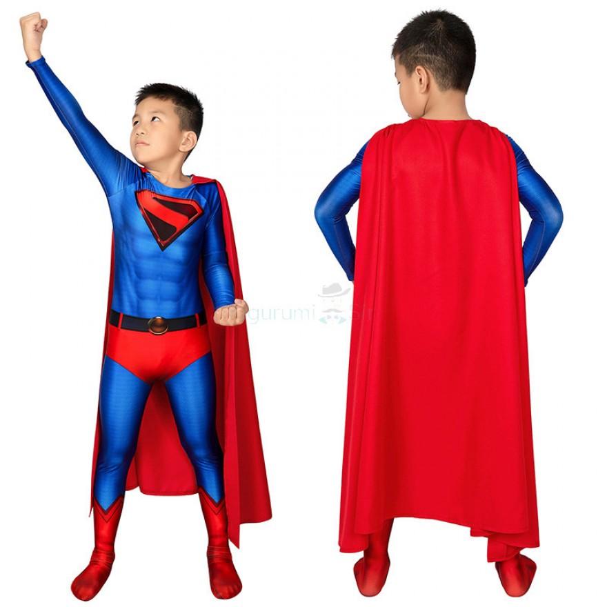 Kids Clark Kent Jumpsuit Crisis on Infinite Earths Superman Kal-El Cosplay Costume