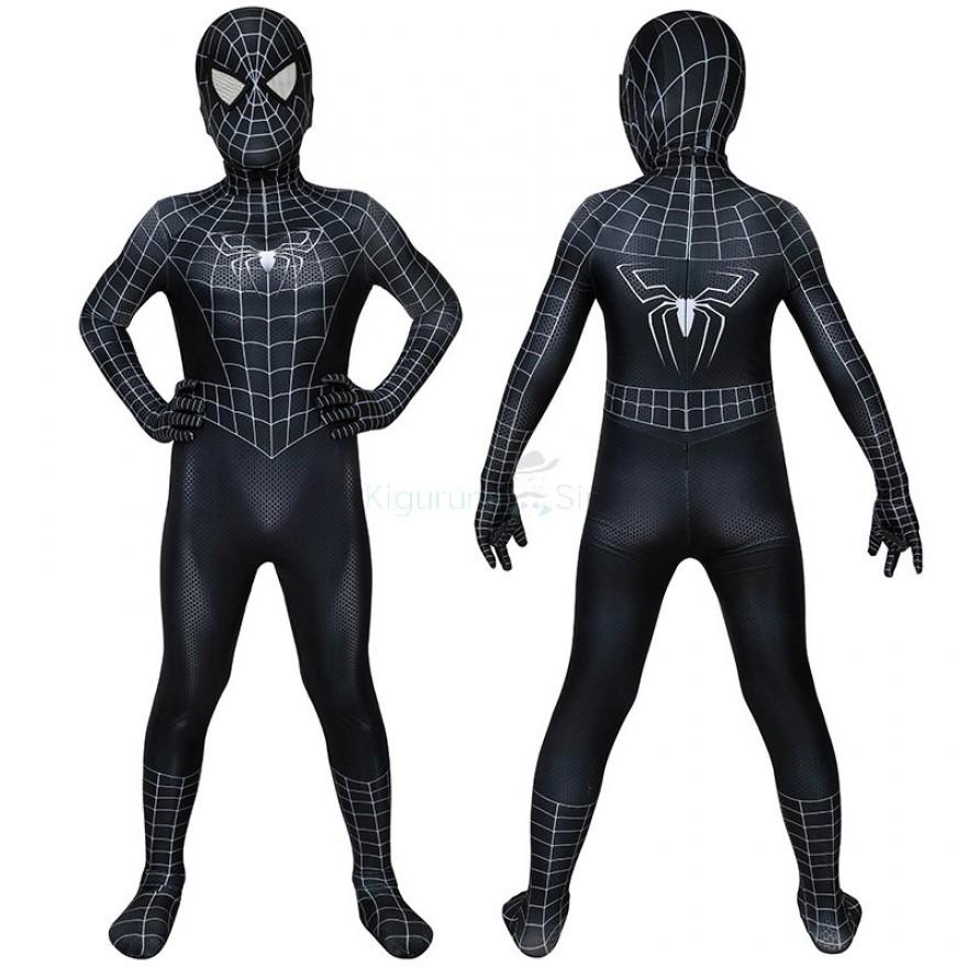 Spider Man 3 Venom Cosplay Costume Spider-Man Eddie Brock Jumpsuit for Kids