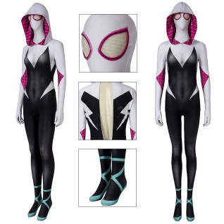 Spider-Gwen Jumpsuit Spider-Man Into The Spider-Verse Cosplay Costume